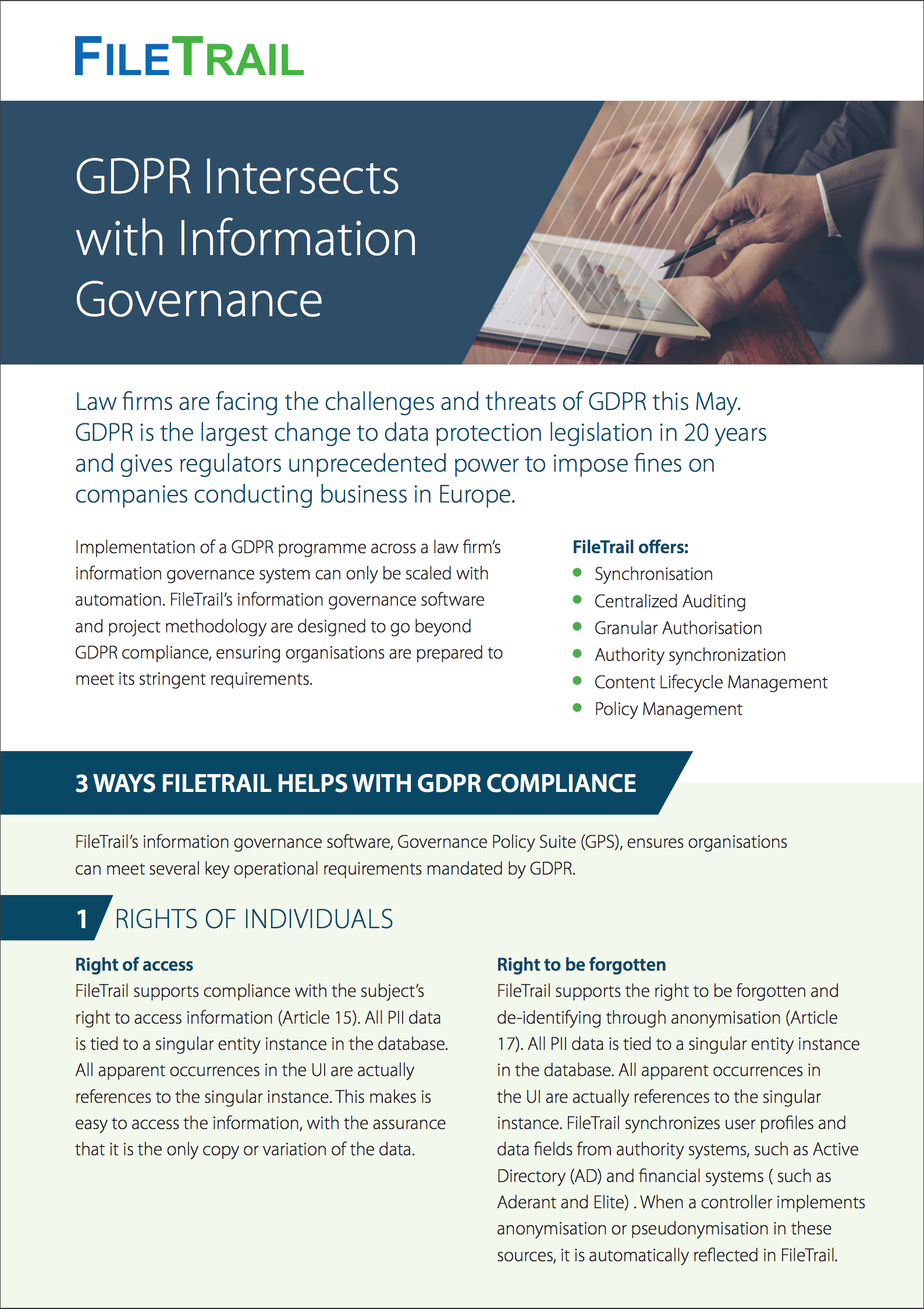 GDPR INtersects with Compliance 3 ways filetrail can help
